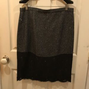 Wool and lace glitter pencil skirt.